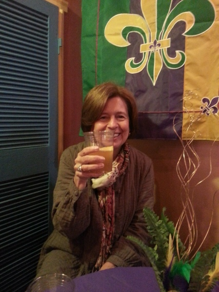 Here's to my mother, enjoying a pint at Geaux Brewing.
